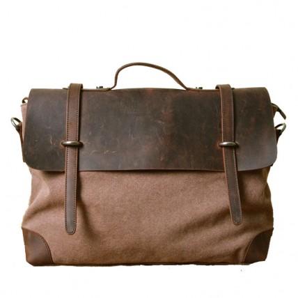 """AT2 MESSENGER II VINTAGE™ Canvas avec cuir, porte-documents, sac pour ordinateur portable, sac de travail. Taille 14"""". 2 couleurs"""